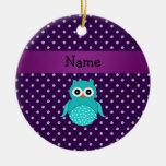 Diamantes conocidos personalizados de la púrpura ornamento para arbol de navidad