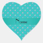 Diamantes conocidos personalizados de la turquesa calcomanía corazón personalizadas
