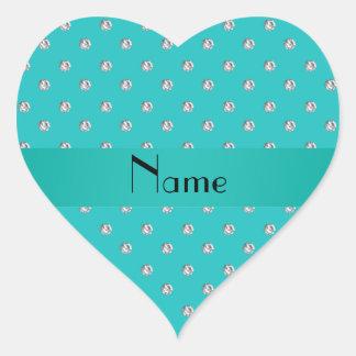 Diamantes conocidos personalizados de la turquesa pegatina en forma de corazón