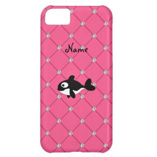 Diamantes conocidos personalizados del rosa de la funda para iPhone 5C