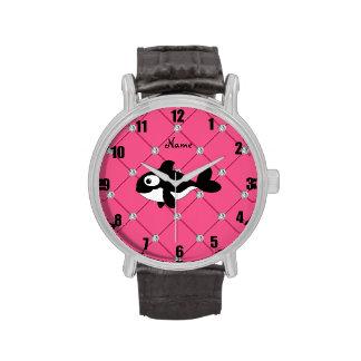 Diamantes conocidos personalizados del rosa de la relojes de pulsera