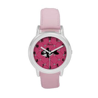Diamantes conocidos personalizados del rosa de la reloj de mano