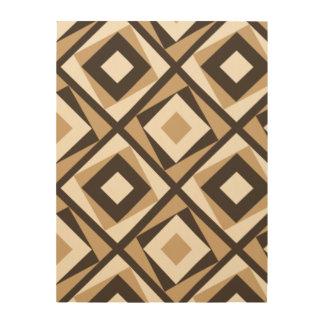 Diamantes cuadrados beige y marrones impresiones en madera