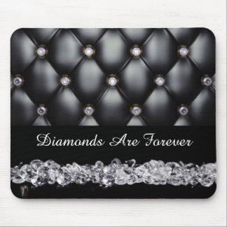 Diamantes de cuero negros del blanco de la mirada alfombrilla de ratón