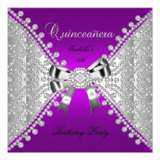 Diamantes de la púrpura de la fiesta de cumpleaños invitación personalizada