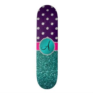 Diamantes de la púrpura del brillo de la turquesa tablas de skate