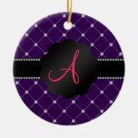 Diamantes de la púrpura del monograma ornamento para arbol de navidad