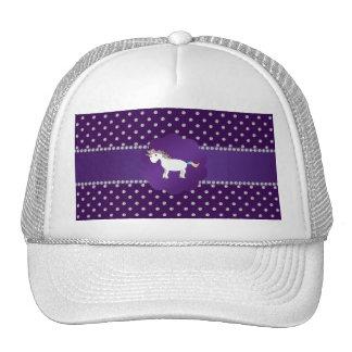 Diamantes de la púrpura del unicornio gorras
