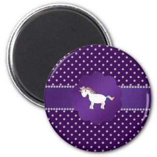 Diamantes de la púrpura del unicornio imán redondo 5 cm
