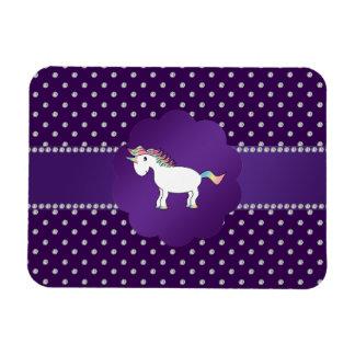 Diamantes de la púrpura del unicornio imán rectangular