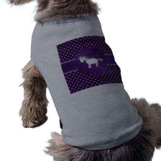Diamantes de la púrpura del unicornio playera sin mangas para perro