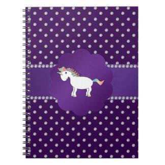 Diamantes de la púrpura del unicornio spiral notebooks