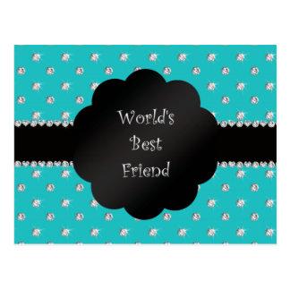 Diamantes de la turquesa del mejor amigo del mundo tarjeta postal