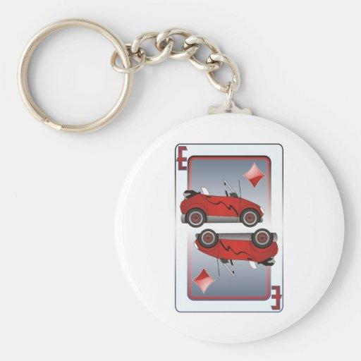 Diamantes de los naipes del coche de Eco Llaveros Personalizados