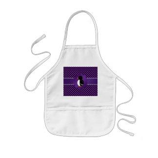 Diamantes de lujo de la púrpura del pingüino delantales