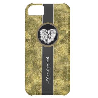 Diamantes del amor del oro funda para iPhone 5C