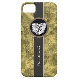 Diamantes del amor del oro iPhone 5 carcasas