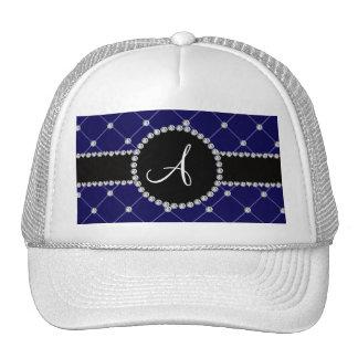 Diamantes del penacho del azul real del monograma gorras