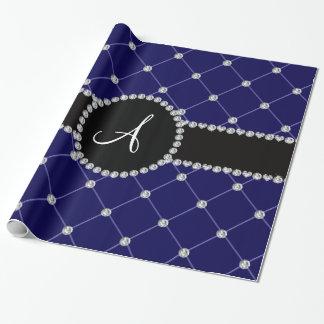 Diamantes del penacho del azul real del monograma papel de regalo