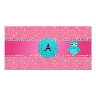 Diamantes del rosa del búho del monograma tarjeta fotografica personalizada