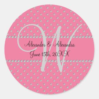 Diamantes del rosa del monograma del boda pegatina redonda