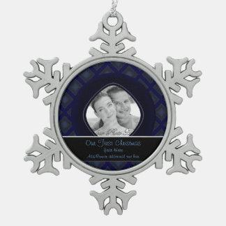 Diamantes del terciopelo (azules) (boda) adorno de peltre en forma de copo de nieve