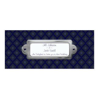 Diamantes del terciopelo (azules) (boda) invitación 10,1 x 23,5 cm