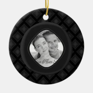 Diamantes del terciopelo (carbón de leña) (boda) adorno redondo de cerámica