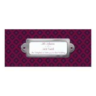 Diamantes del terciopelo (púrpuras) (boda) invitación 10,1 x 23,5 cm
