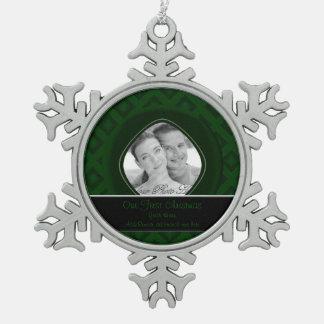 Diamantes del terciopelo (verde) (boda) adorno de peltre en forma de copo de nieve