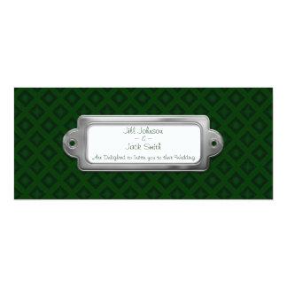 Diamantes del terciopelo (verde) (boda) invitación 10,1 x 23,5 cm
