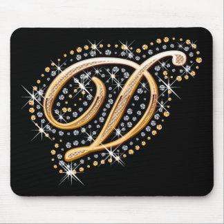 """Diamantes e inicial de oro """"D"""" Mousepad Tapetes De Raton"""