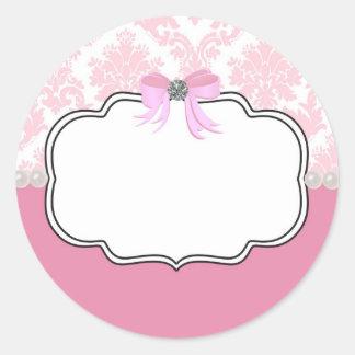 Diamantes e invitación rosados del damasco de las pegatina redonda