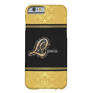 Diamantes elegantes L caso del oro del iPhone 6 Funda Para iPhone 6 Barely There