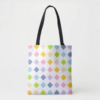 Diamantes en colores pastel del arco iris bolsa de tela