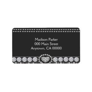 Diamantes en fondo blanco y negro etiqueta de dirección