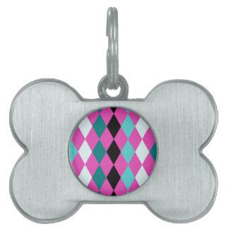 Diamantes en rosa placa de nombre de mascota