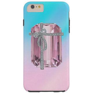 Diamantes esmeralda rosados funda de iPhone 6 plus tough
