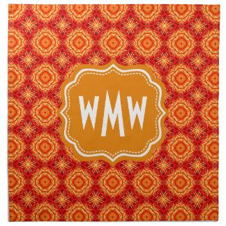 Diamantes florales anaranjados rojos cones servilletas imprimidas