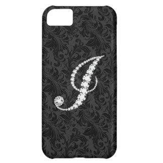 Diamantes florales negros elegantes J inicial de D Funda Para iPhone 5C