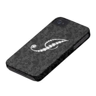 Diamantes florales negros elegantes J inicial de iPhone 4 Protector