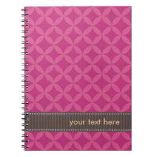 Diamantes geométricos personalizados Flambé rosado Cuaderno