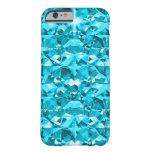 Diamantes impresionantes de la aguamarina funda para iPhone 6 barely there
