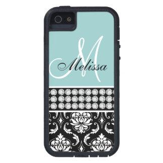 Diamantes impresos damasco negro con monograma azu iPhone 5 cobertura