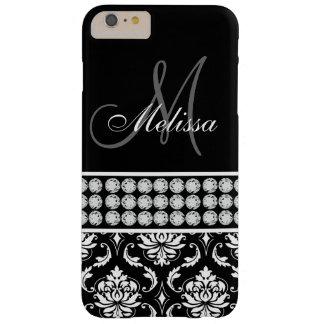 Diamantes impresos damasco negro personalizados funda de iPhone 6 plus barely there
