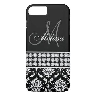 Diamantes impresos damasco negro personalizados funda iPhone 7 plus