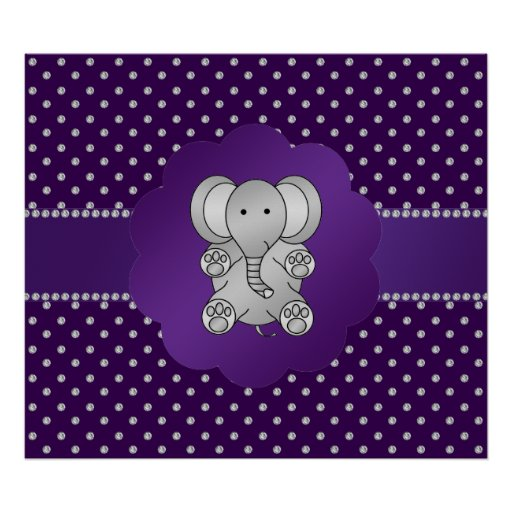 Diamantes lindos de la púrpura del elefante impresiones