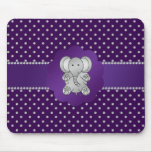Diamantes lindos de la púrpura del elefante tapetes de raton