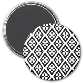 Diamantes medievales - blancos y negros imán redondo 7 cm