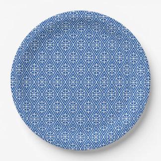 Diamantes medievales del damasco, azul de cobalto platos de papel